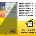 paper size papírméret ISO A0 A1 A2 A3 A4 A5 A6 A7 méret táblázat size mm 210 297 420 594 841 914